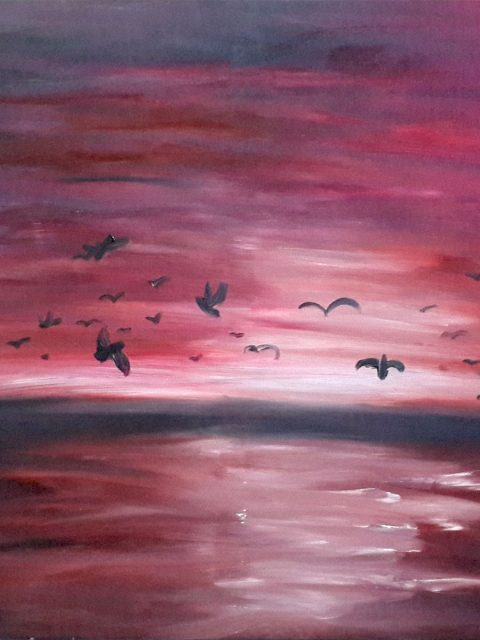purple painting, seascape painting, tree painting, birds painting, birdsin flight painting, nature painting, landscape painting, migration painting, Birds migrating painting, birds migration painting, dusk painting, dawn painting, dawn breaking painting, daybreak painting, purple sky painting, sea and sky painting,