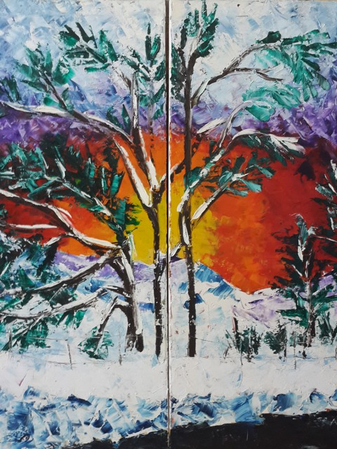 Colorful expressionism painting, colourful sunset, winter landscape, exploding colors, palm trees, snow forest, sun burst, twilight sky, winter landscape, wintery scenery, winter sunrise, icy sunset, woods in winter, colourful, energy, eye, power, empowering, powerful, road side, snow, snowing, sunrise, sunset, trees, twilight, vibrant, winter, woods, frozen tree, frozen sky, frozen sun, frozen, energy burst,
