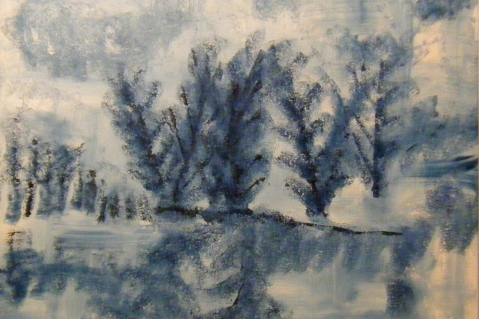Square wall art, winter, winter solace, nature, nature landscape, icy, icy river, frozen river, freezing, freezing landscape, white and blue, expressive, gestural, abstract, trees, nature setting, forest, cloudy, winter clouds, icy clouds, winter scene, frozen lake,