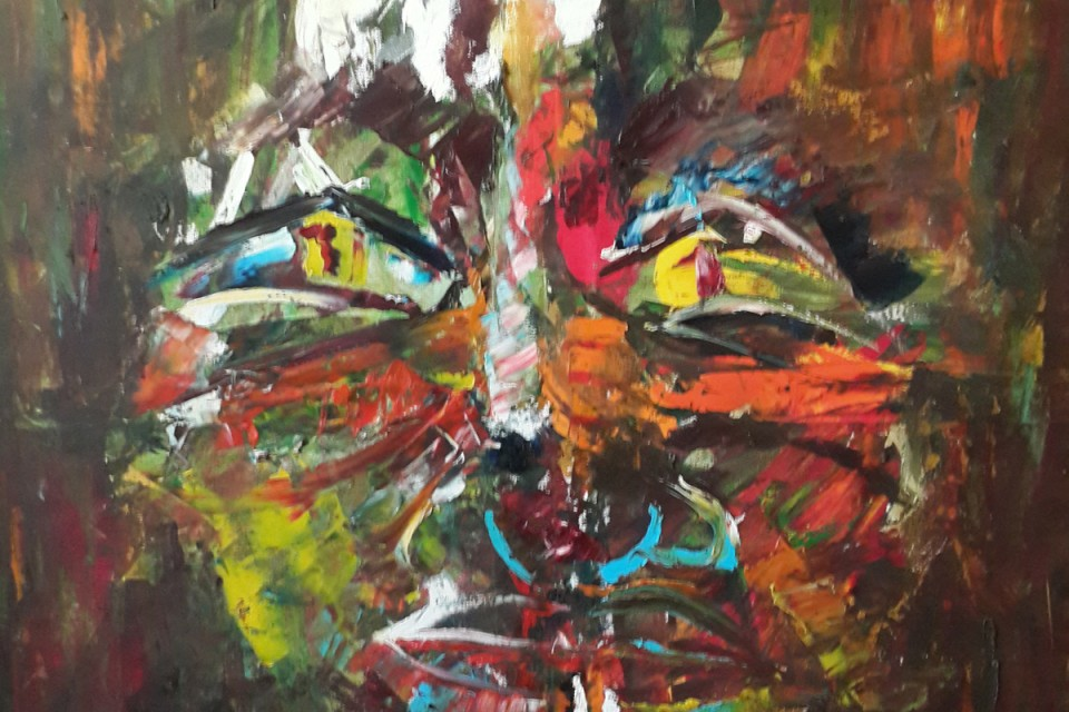 Colourful, man, face, portrait, smoking, man smoking, expressionistic painting, gestural painting, fauvism, facial expression, facial emotion, childlike painting, abstract face, glowing, dark, yellow eyes, mask, hiding, disguise, façade, concealed emotion, evil eyes, smoking a joint, doobie, glare, poison, stoned, stoner,