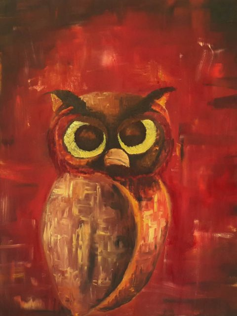 Owl, red owl, red painting, owl painting, perched owl, knowledge, red and black painting, expressive bird, bird painting, owl art, brush strokes, brushwork, sitting owl, looking owl, owl looking, owl thinking, bird of prey, blazing red painting, nature, black and red, oil painting, painting, painting of the day, interior design, room ideas, colorful artwork, artwork for sale, buy painting, painting for sale, wall art, daily painting, sell painting, interior ideas, wall design, room decor, living ideas, expressionistic painting, artistic painting,
