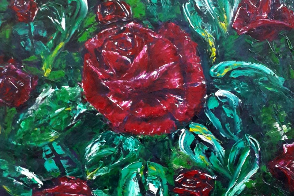 Rose, roses, rose bush, thorns, rosebuds, red roses, flowers, flowers growing, nature, shrubbery, shrubs, red rose painting, spring, springtime, spring flowers, blossom, blossoming, blooming flowers, blooming roses, budding roses, blossoming roses, love, affection, valentine, blooming buds, blossoming buds, leafy shrub, rose patch,garden, garden roses, garden flowers, green and red, oil painting, painting, painting of the day, interior design, room ideas, palette knife, colorful artwork, artwork for sale, buy painting, painting for sale, wall art, daily painting, sell painting, interior ideas, wall design, room decor, living ideas,